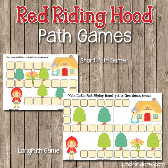 Super simple printable game - good for number recognition, counting, one to one correspondence. .. for Red Riding Hood path game