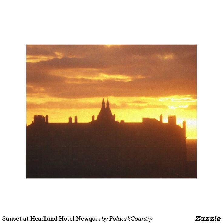 Sunset at Headland Hotel Newquay Cornwall England Canvas Print