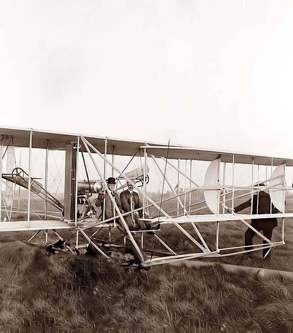 Orville seated in Wright airplane with Albert B. Lambert before takeoff; Simms Station, Dayton, Ohio. 1910