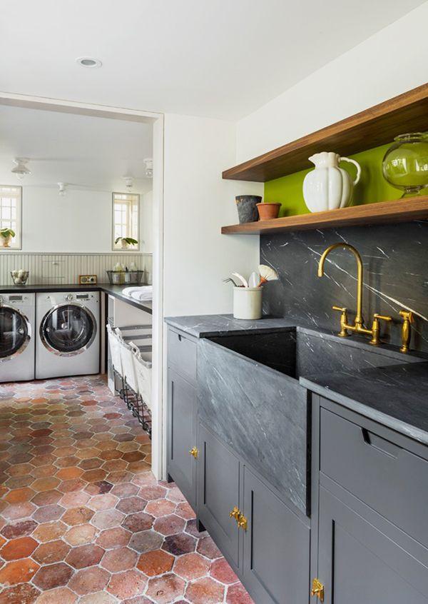 black marble prep sink and utility room    via coco+kelley