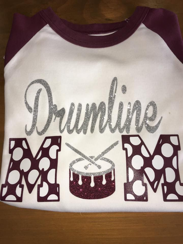 Drumline mom glitter shirt