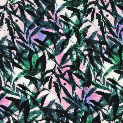 Viscose jersey hvid med palme print - STOFF & STIL