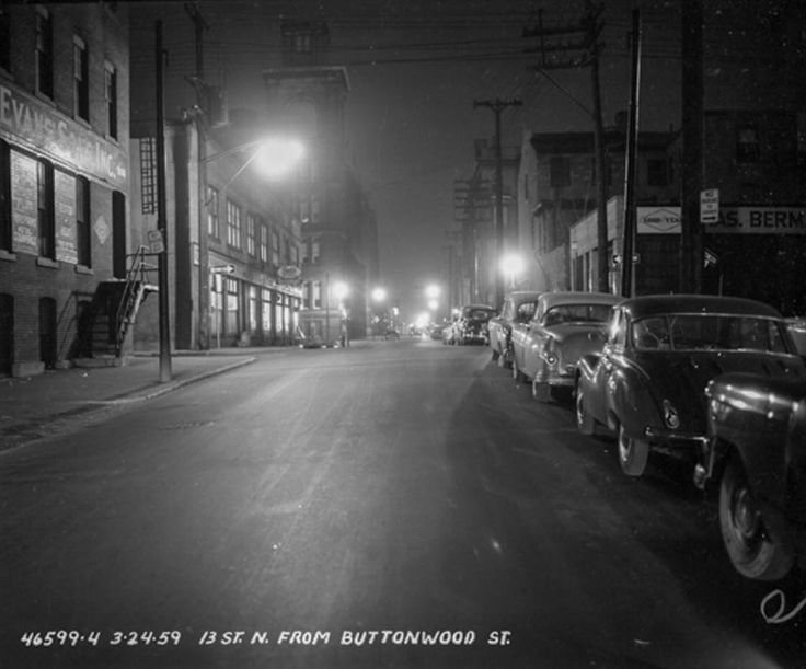From the PhillyHistory.org site; ca.1959 Looking north on 13th street from Buttonwood street. Sign: John Evans' Son Inc. Sign: Goodyear