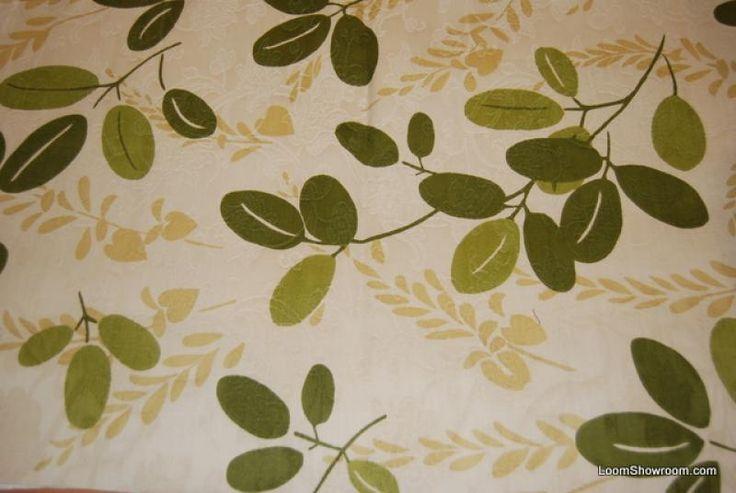 HD820 Scandinavian Modern Green and Dark Cream Leaf Twig Heavy Weight Cotton Fabric Drapery Fabric