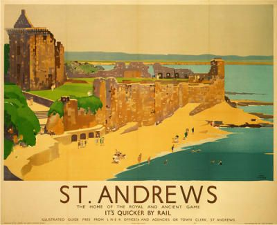Vintage Travel Poster - Scotland - St. Andrews, golf - Railway