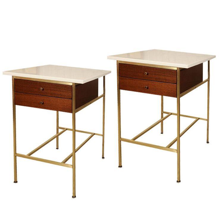 Single Paul McCobb bedside table with original milk glass top | 1stdibs.com