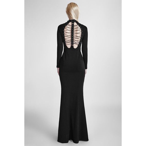 Black Muse Long Black Gothic Dress by Punk Rave (£100) ❤ liked on Polyvore featuring dresses, gothic dresses, halter-neck maxi dresses, halter-neck dress, open back maxi dress and open back halter top