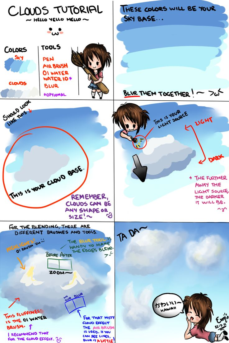 Clouds Tutorial Paint Tool Sai by TheYelloMello
