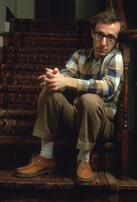 I have always been a fan of Woody Allens 'DAD STYLE' and to me this is a perfect example of that, with the plaid shirt, cuffed slacks and moccasins, and yeah the white socks. GREAT!