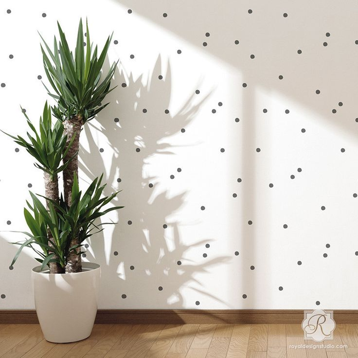 Might be cute in a laundry room, office or closet? Or inside drawers?. Modern Polka Dot Pattern - Designer Wall Stencils for Cute Nursery Decor and Accent Walls