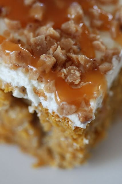 """Pumpkin Poke Cake Recipe ...""""The cake is super moist with a slight flavor of pumpkin pie and fall spices and is infused with the sweetness of sweetened condensed milk. The whipped topping isn't too sweet, and the toffee pieces and caramel drizzle complement the pumpkin flavors perfectly!"""""""