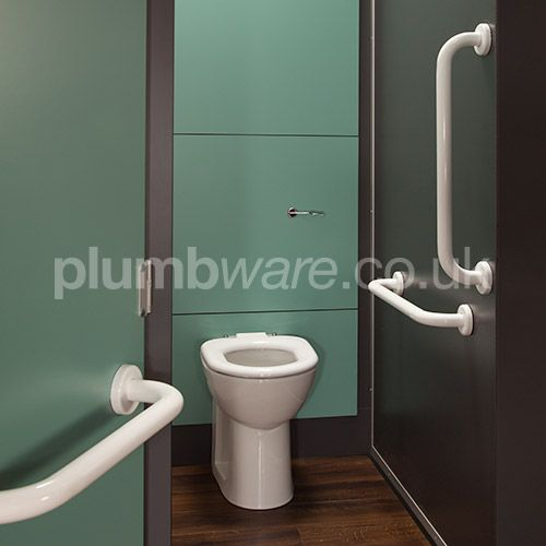 Back-to-Wall Ambulant WC Pack comes with Raised height Toilet Pan, Concealed Cistern, Toilet Seat, and Grab Rails.