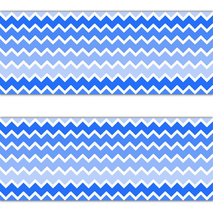 Blue Ombre Chevron Wallpaper Border Wall Decals Baby Boy Nursery