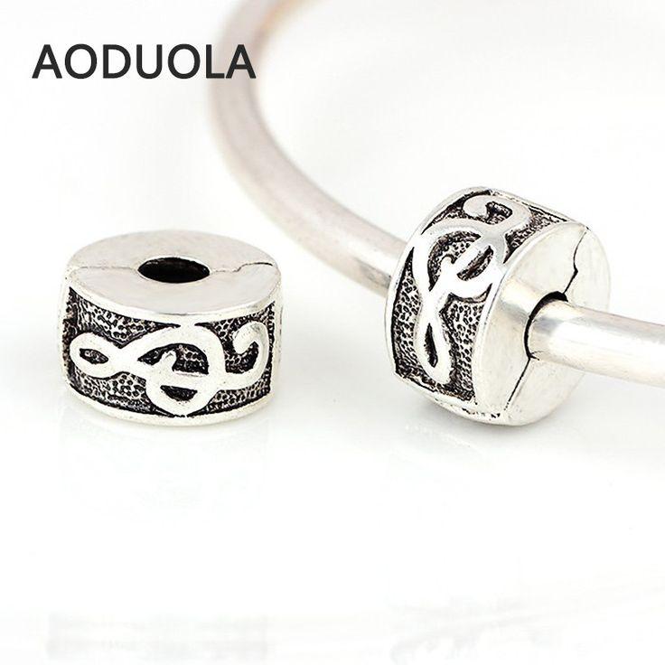 Charms 10 Pcs a Lot Silver Copper Stopper Music Letter Lock European Fits Pandora Bracelet Beads