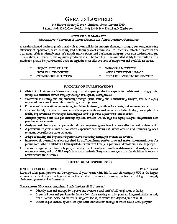 Sample resume for Operations Manager