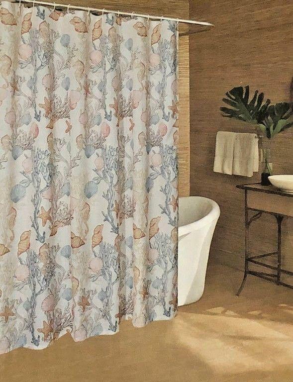 Caribbean Joe Fabric Shower Curtain 70x72 New Seahorse Shells Under The Sea CaribbeanJoe Shell