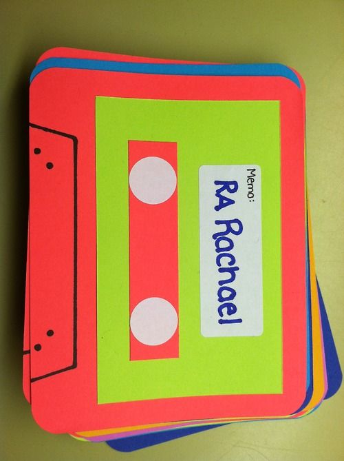 """ra-rachael:  The door decs I made for this semester arecassettetapes. Going with my """"Perks of Being a Wallflower"""" theme, I chose to do these because the main character, Charlie, gave his bestfriend a cassette tape for a gift. It meant so much for Charlie to do this for his friend, so I wanted to do this for my residents!"""