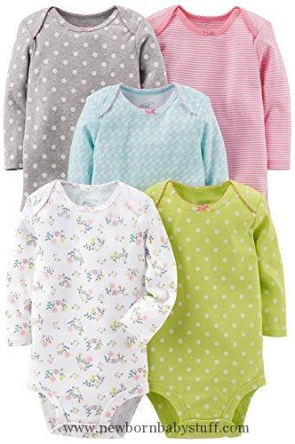 Baby Girl Clothes Simple Joys by Carter's Baby Girls 5-Pack Long-Sleeve Bodysuit, Grey/Pink/Lime/Blue, 0-3 Months
