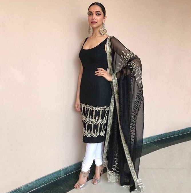 Deepika Padukone in black Indian outfit