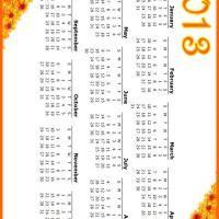 printable year calendar 2013