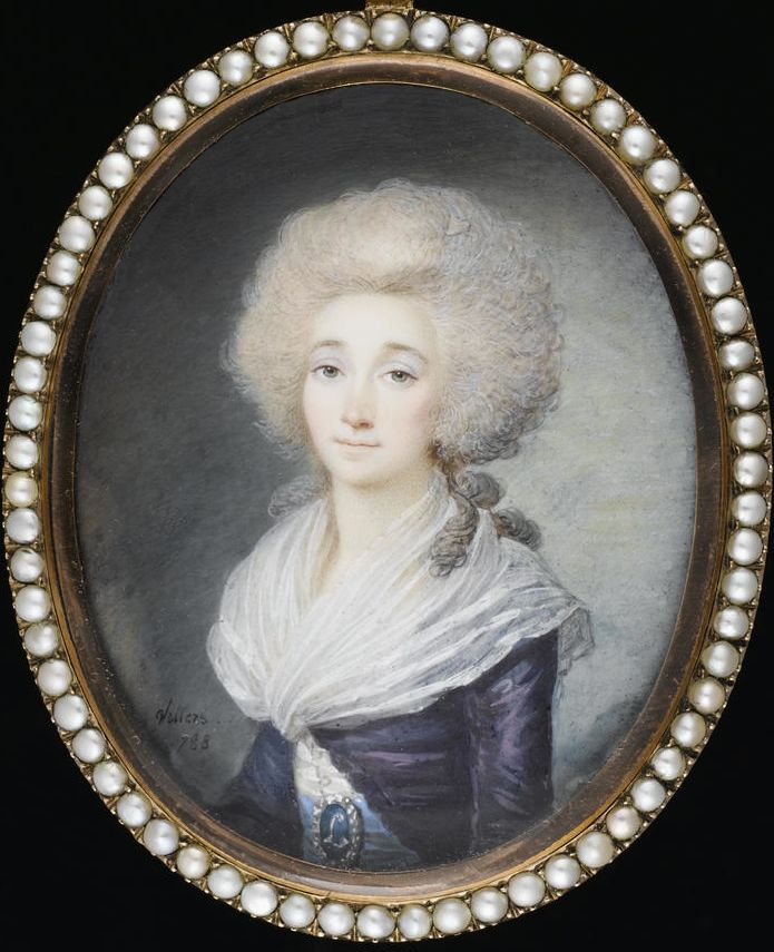 Elizabeth Philippine Marie Helene of France (1764–94), sister of Louis XVI, wearing purple open robe over white dress and white fichu, her blue waistsash held with a pearl-edged buckle bearing initial L, 1788, by Maximilien Villers.