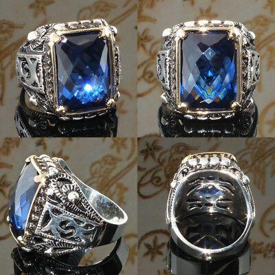 Anillo de hombre de plata esterlina 925 azul zafiro único hecho a mano joyería…