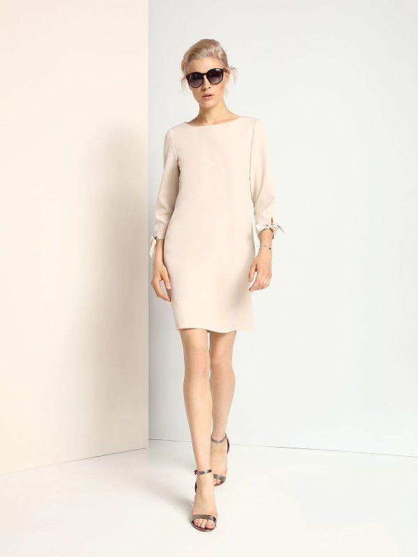 sukienka damska  beżowa - SSU1684 TOP SECRET
