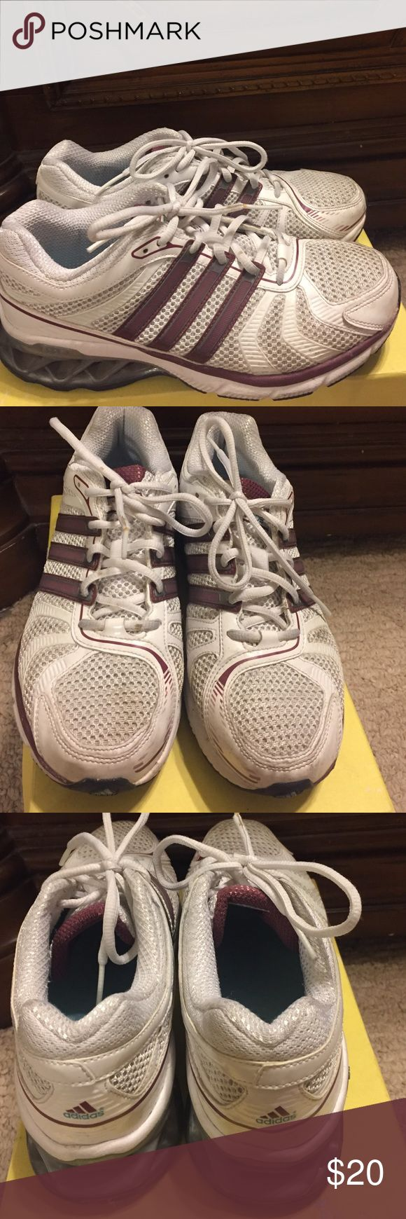 Adidas Boost shoes Adidas Boost Running Shoes. Maroon and White size 7. Excellent condition. Used for fashion still has life for runners and exercise. Adidas Shoes Athletic Shoes