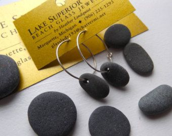 Lago Superior simple Oval basalto Zen piedra aro pendientes Heather Grey