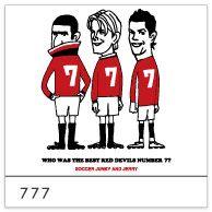 Football-MAX別注限定商品。 他では手に入らない書き下ろしイラスト限定アイテム! <スリーセブン> レッドデビルの歴代ナンバー7でも特に人気の高い3選手が勢ぞろい。 あなたは誰が最高の7番だと思いますか?