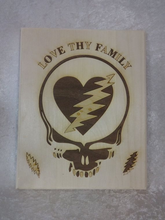 love thy family wood inlayed plaque by gratefullycrafted on etsy deadhead art alliance. Black Bedroom Furniture Sets. Home Design Ideas