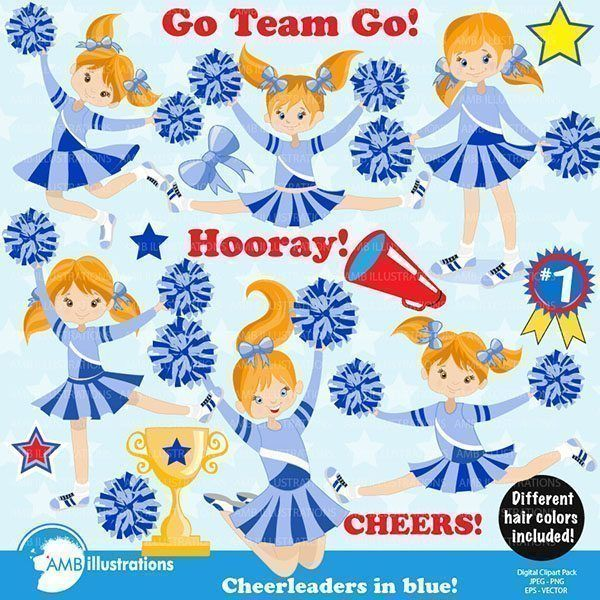 Cheerleaders in Blue uniforms clipart, comes with cute cheerleader characters. 9 – 6 inch x 6 inch 300 cliparts. Cheerleaders, team sports, cheerleader cliparts, cheer clipart, school spirit clipart. High quality 300 dpi graphics [...]