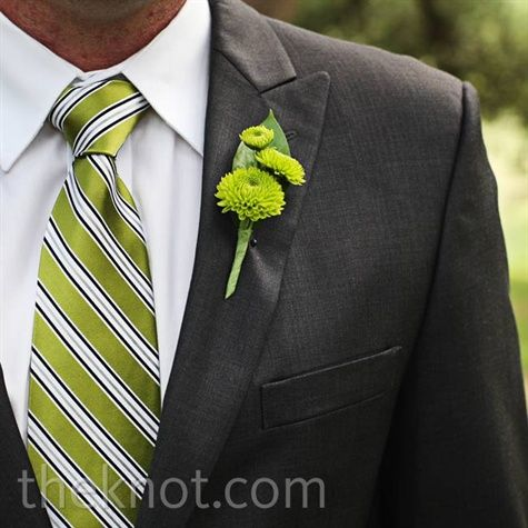 Real Weddings - A Modern Ranch Wedding in Austin, TX - Green Mum Boutonniere: Groomsmen Boutonnieres, Grey Suits, Green Mums, Boutonni Mums, Green Grooms, Gorgeous Green, Green Ties, Green Wedding, Mums Boutonnieres