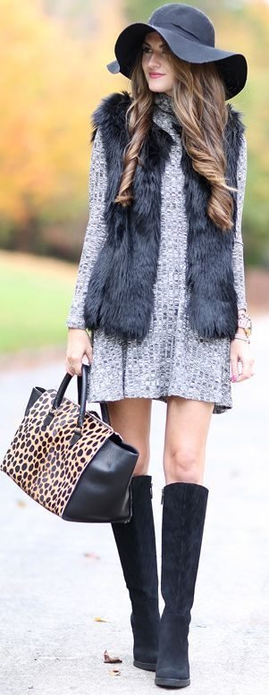 Black Floppy Hat Donald Pliner Wedge Boots Faux Fur Vest Turtleneck Swing Dress Fall Street Style Inspo #Fashionistas