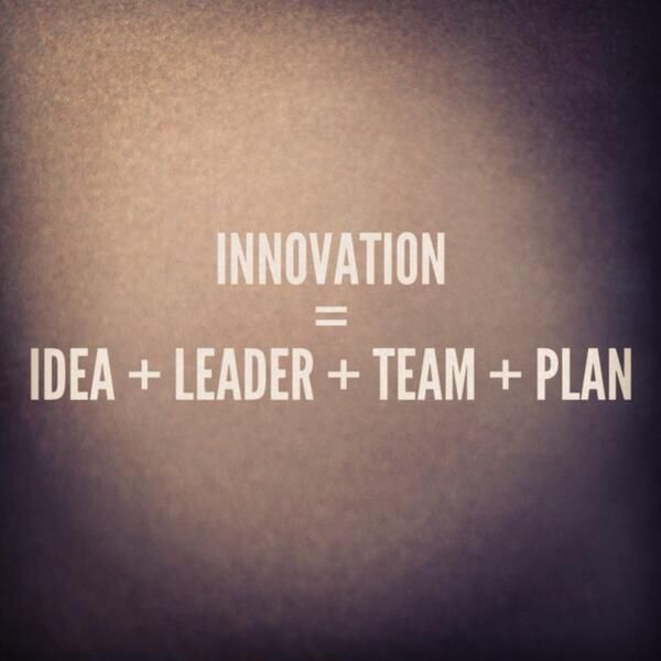 Innovation= idea + leader + team + plan: it is essential for business success. We love it. #Entrepreneur #SmallBiz #Business #Quote #Inspiration
