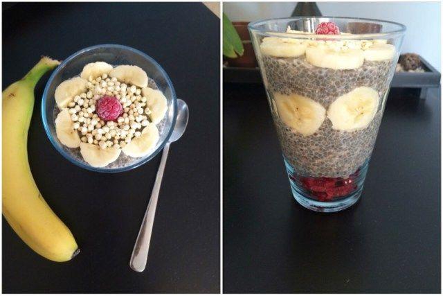 Cinnamon-vanilla chia puding with raspberries, banana and puffed millet
