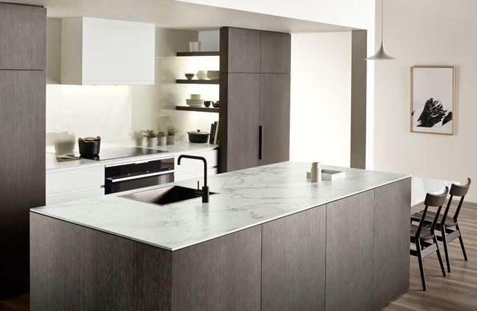 Melteca Espresso Ligna cabinetry, Formica 180fx Carerra Marble benchtop