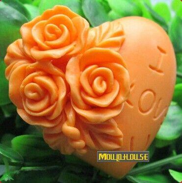 도매 3D 수제 비누 실리콘 몰드, 장미 꽃 심장 모양 캔들 사탕 금형 금형 금형,