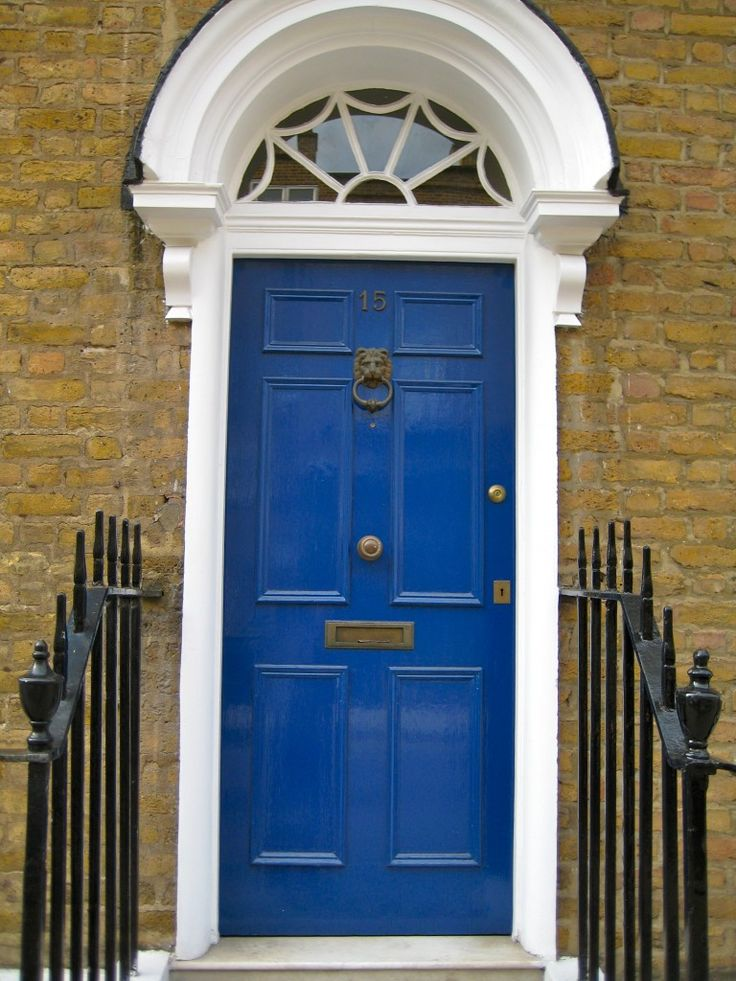 a painted blue front door