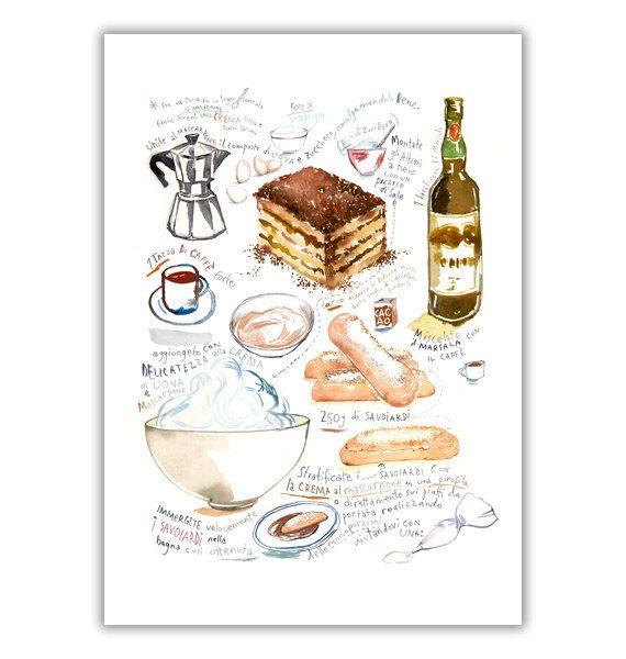 Italian Tiramisu recipe poster, Watercolor illustration, Illustrated recipe, Italy, Kitchen wall art