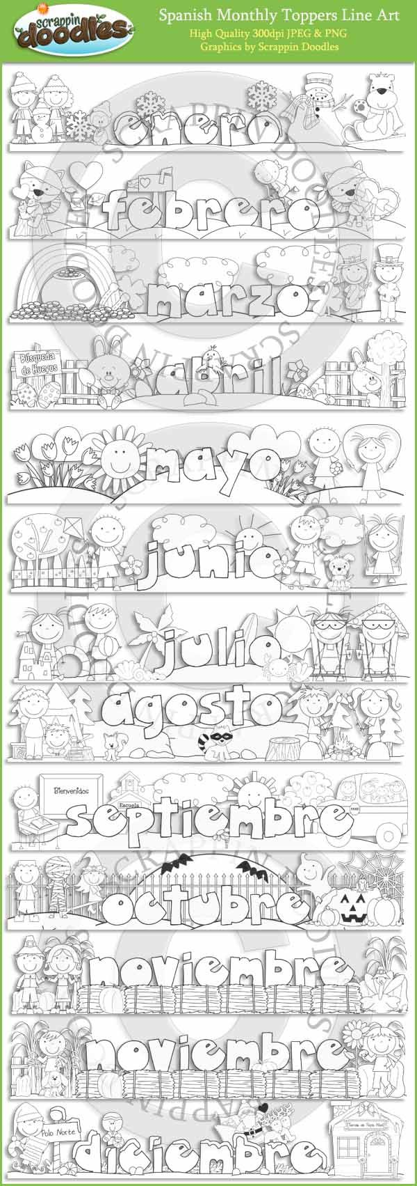 Spanish Monthly Toppers Line Art Download - $3.50 : Scrappin Doodles, Creative Clip Art, Websets & More