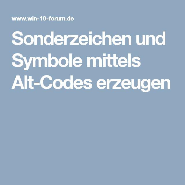 Sonderzeichen und Symbole mittels Alt-Codes erzeugen