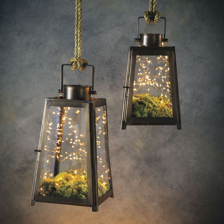 Hanging Lanterns - with moss and LED battery-powered string of tiny lights