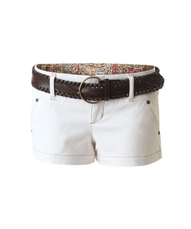 Low rise stretch cotton short with braided belt @Bootlegger #shorts