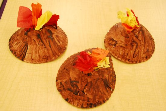Volcano art - paper plate, paint and tissue paper