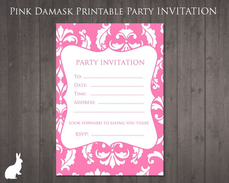 Captivating Free Party Invitation Pink Damask