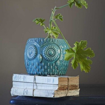 Ceramic Teal Owl Pots - Plant Pots - Home Decoration - Home Accessories