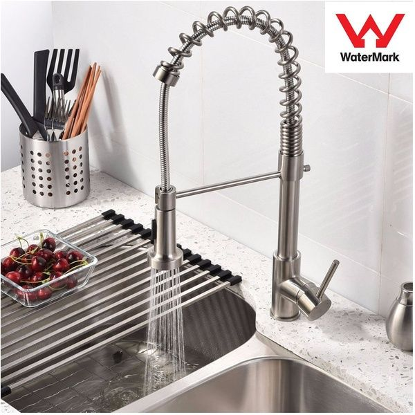 Brushed Nickel Kitchen Sink Faucet Pull Out Dual Spray Swiveling