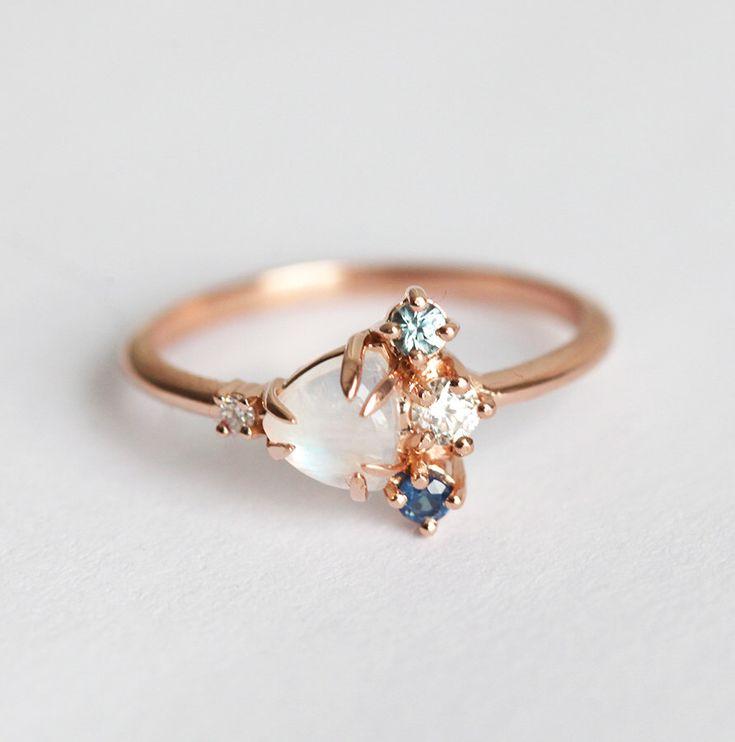 Rose Gold Moonstone Ring 14k Cluster Engagement Ring Diamond