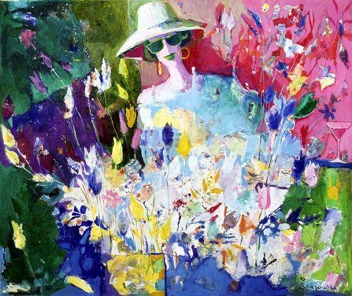"""Obraz """"Kwiaciarka [A Florist]"""", 80×100 cm, oil on canvas, 1994 [14-02], signed: B. Wąsowska;  © Beata Wąsowska"""